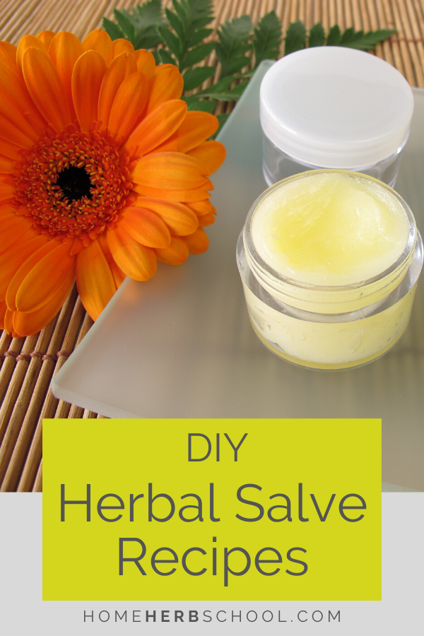 DIY herbal salve recipes are easier to make than you think! This herbal medicine is perfect for the home first aid kit and makes a special gift. Simply combine herbal infused oils and wax. Use this herbalism remedy for eczema, diaper rash, headache, chapped hands, broken bones and as an anti-septic.